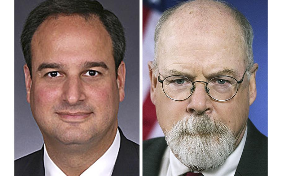 Attorney Michael Sussmann, left, and Special Counsel John Durham, who on Thursday, Sept. 16, 2021, charged Sussmann with making a false statement to the FBI.