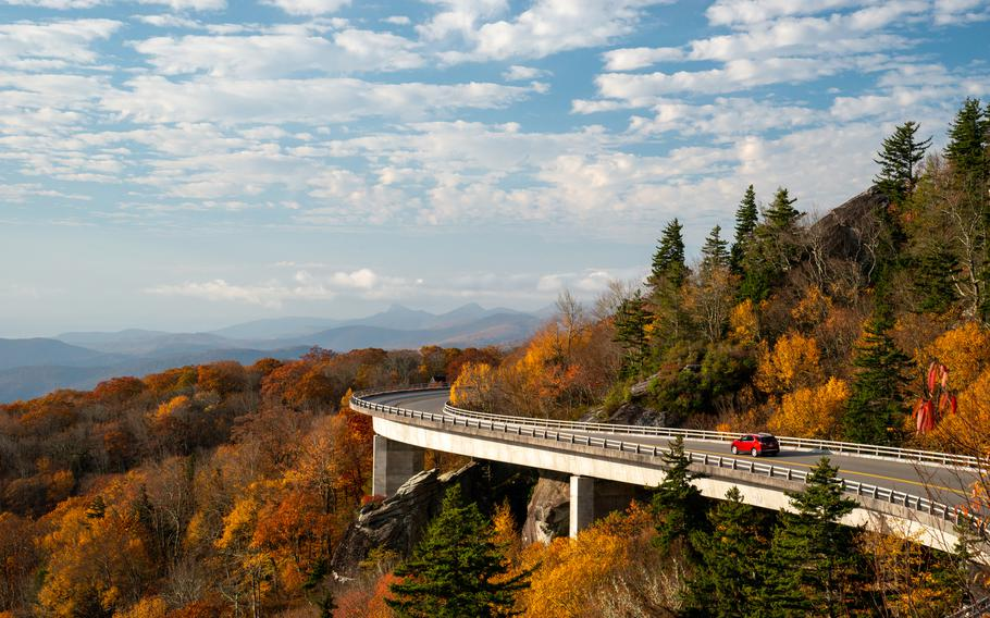 The Linn Cove Viaduct - an S-shaped elevated roadway that hugs the side of Grandfather Mountain in North Carolina - was one of the last portions of the Blue Ridge Parkway to be completed. The structure is a National Civil Engineering Landmark.