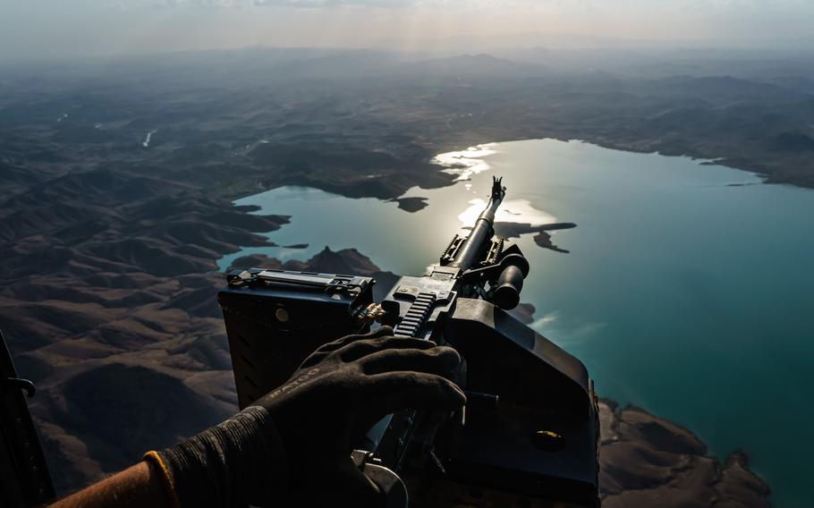 The outlook for Afghan's air force is in doubt now that the U.S. and NATO are pulling out of the country. A UH-60 Blackhawk passes Arghandab Dam after a mission north of Kandahar, Afghanistan.