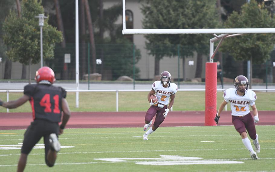 Vilseck's Aveion Ruffin returns the opening kickoff for 70 yards during a face-off against Kaiserslautern on the Raiders' home turf Friday, Sept. 17, 2021. The Raiders won 33-19 for a 2-0 season start.