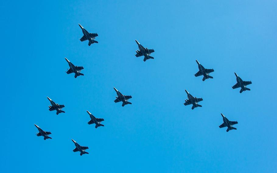 The gunslingers of VFA-105 based at Naval Air Station Oceana greeted sailors with a flyover on Tuesday, July 13, 2021.