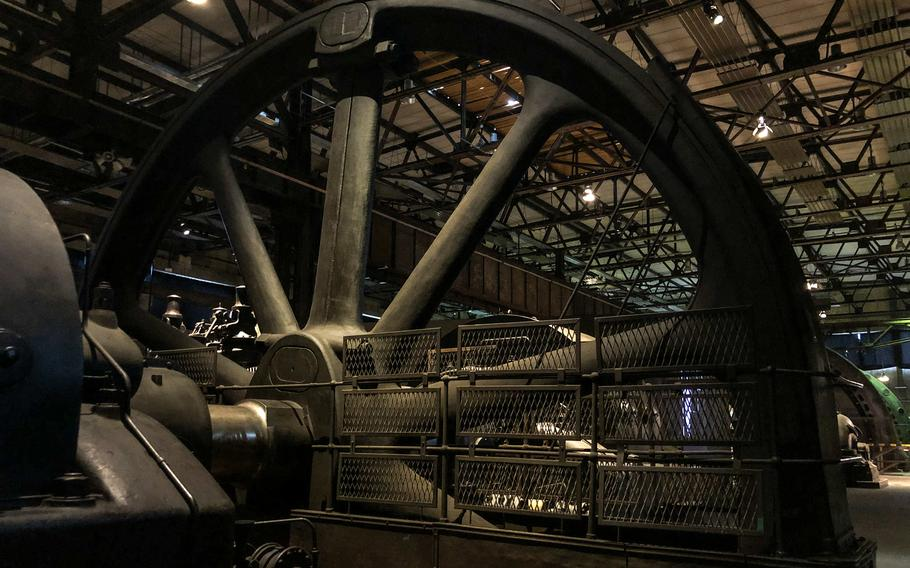 Tons of iron machinery is displayed in the Blower Hall at Voelklingen Ironworks in Voelklingen, Germany.