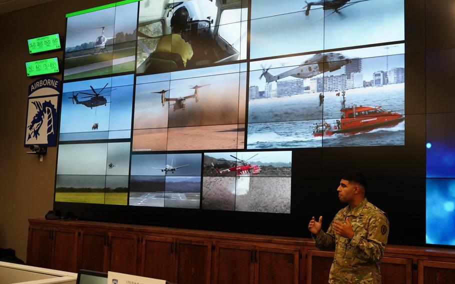 Army 1st Lt. Mahdi Al-Husseini, who is assigned to the 25th Combat Aviation Brigade, pitches his presentation on AI pilot performance feedback. Al-Husseini is one of seven soldiers who is taking part in Dragon's Lair 5. The program was established in October 2020 to help increase innovation across the XVIII Airborne Corps.