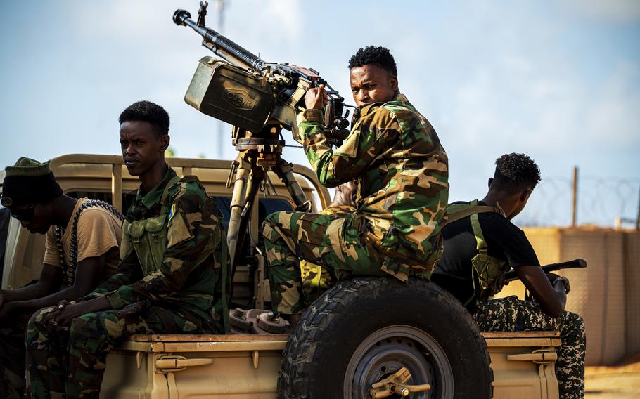 U.S. forces practice convoy training with the Danab Brigade and the Kenya Defense Force in Somalia in May 2021. U.S. Africa Command carried out an airstrike July 20, 2021, against al-Shabab militants who were attacking members of the Danab force.