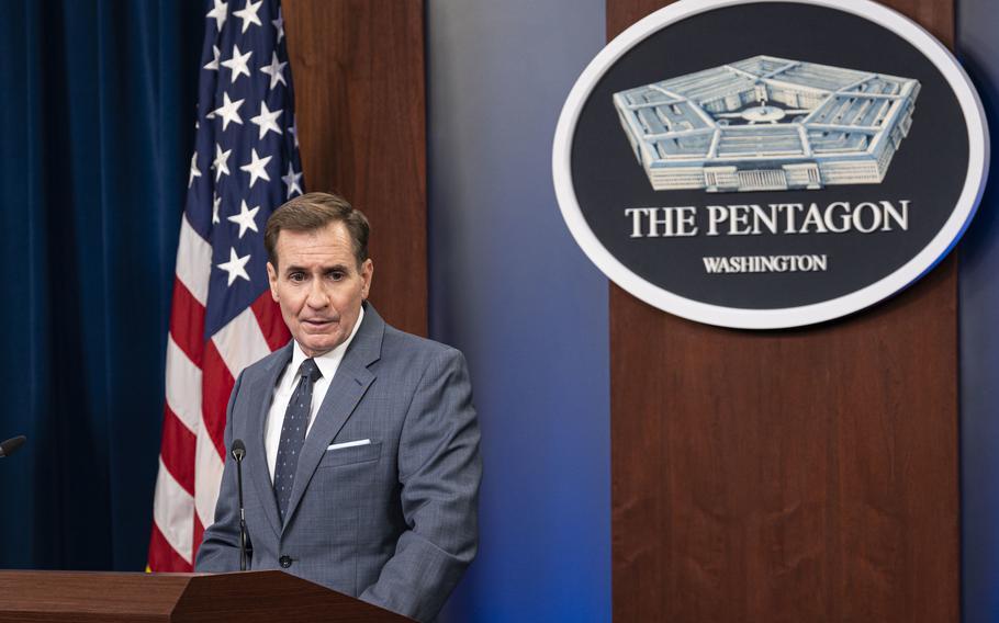Pentagon Press Secretary John Kirby holds a news briefing at the Pentagon on Aug. 17, 2021.