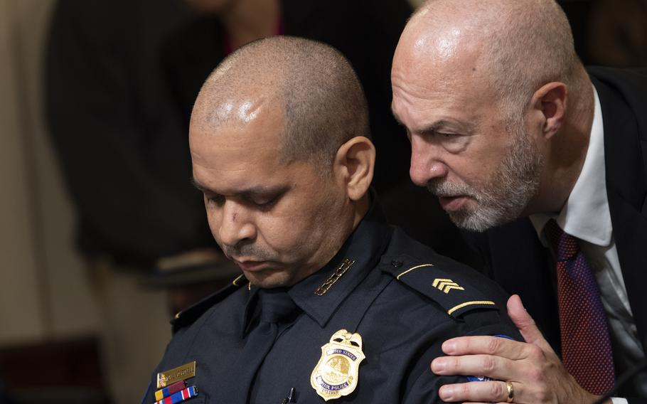 U.S. Capitol Police Sgt. Aquilino Gonell, pauses after making his opening statement before the House select committee hearing on the Jan. 6 attack on Capitol Hill in Washington, Tuesday, July 27, 2021.