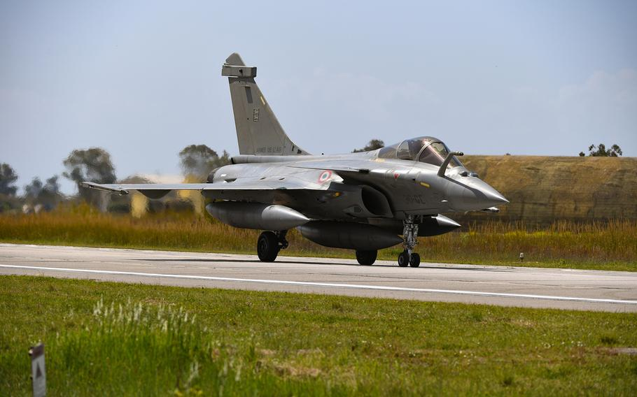 A French Air Force Rafale fighter plane takes a taxi at Andravida Air Base, Greece, April 7, 2021.