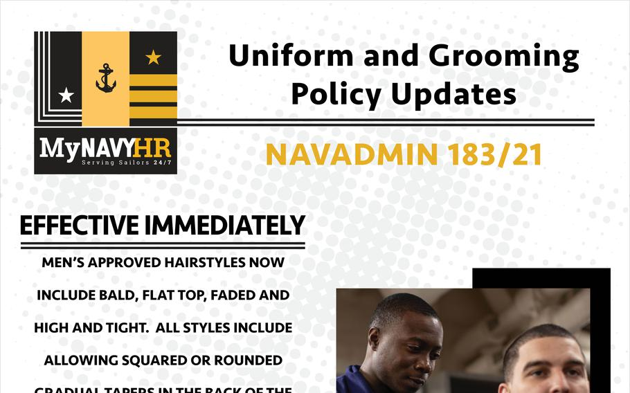 """The Navy has officially sanctioned flat-tops, faded and bald hairstyles in addition to the traditional """"high and tight"""" look for male sailors."""