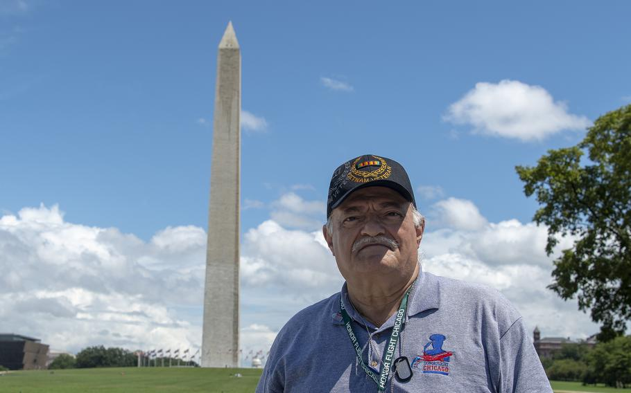 Air Force veteran Mike DiCosola takes in the sights at the World War II Memorial in Washington, D.C., on Wednesday, Aug. 18, 2021, at the conclusion of an Honor Flight ceremony that paid tribute to veterans from World War II, the Korean War and the Vietnam War.