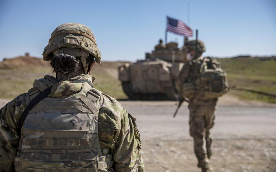 U.S. Soldiers, with Alpha Company, 1st Battalion, 6th Infantry Regiment, 2nd Armored Brigade Combat Team, 1st Armored Division, conduct area reconnaissance in the Central Command area of responsibility, Feb. 22, 2021.