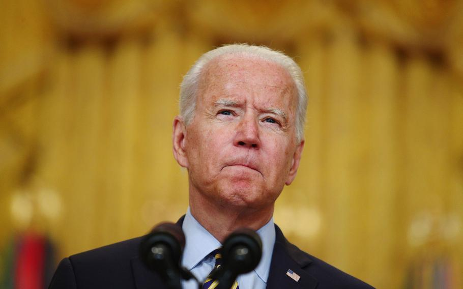 President Joe Biden pauses while speaking in the East Room of the White House in Washington, D.C., on July 8, 2021.