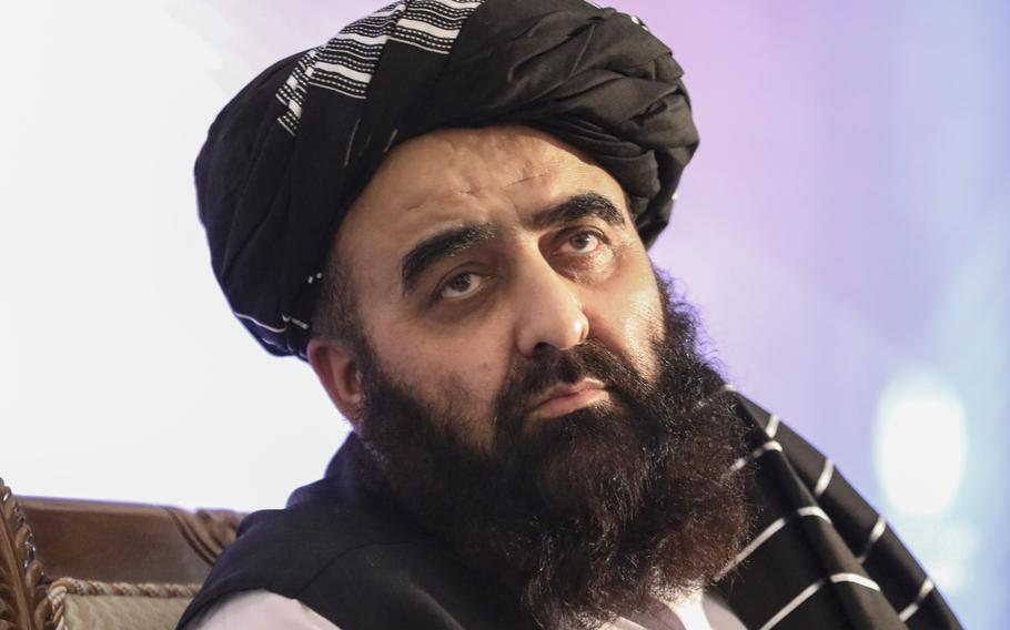 The foreign minister in Afghanistan's new Taliban-run Cabinet, Amir Khan Mutaqi, gives a press conference in Kabul, Afghanistan, Tuesday, Sept. 14, 2021. Mutaqi said Tuesday that the government remains committed to its promises not to allow militants to use its territory to attack others.