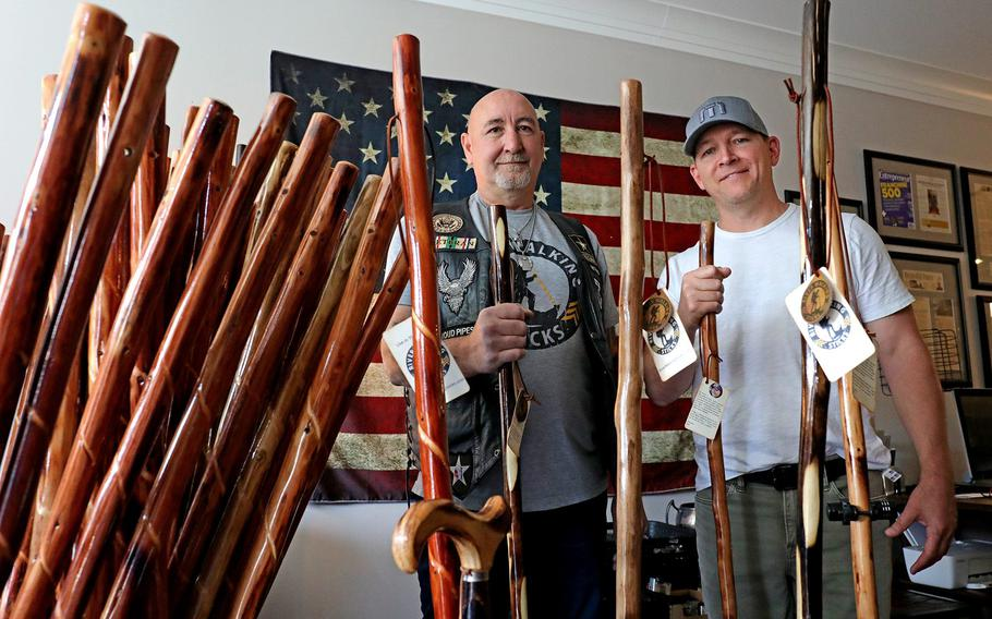 Ken Watters, of Canal Winchester, left, is one of the veterans who works for River Walking Sticks, a business created by Dublin resident Joe Daley, right. It employs veterans and donates to organizations that  help them.