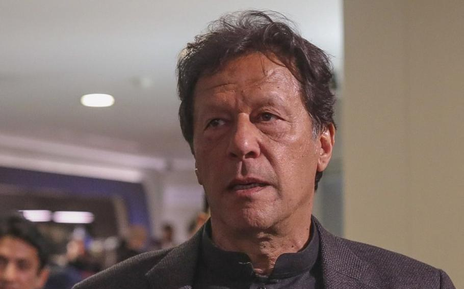 """Pakistan's Prime Minister Imran Khan attends the World Economic Forum in Davos, Switzerland, on Jan. 22, 2020. Khan on Thursday, Sept. 15, 2021, said Afghans should not be left alone"""" as their new government struggles to organize and tackle widespread social ills."""