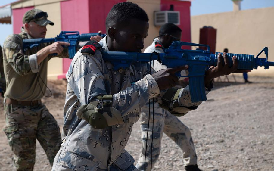 U.S. Coast Guard Petty Officer 1st Class Andrew Knowles, left, and members of the Djiboutian coast guard train in Djibouti in October 2019. Cutlass Express 2021, a two-week exercise sponsored by U.S. Africa Command and led by U.S. Naval Forces Europe-Africa/U.S. 6th Fleet, kicked off in Djibouti on July 25, 2021.