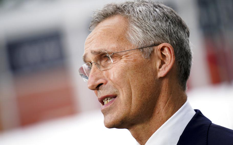 Jens Stoltenberg, NATO Secretary General, is interviewed outside the United Nations headquarters, Tuesday, Sept. 21, 2021, during the 76th Session of the U.N. General Assembly in New York.