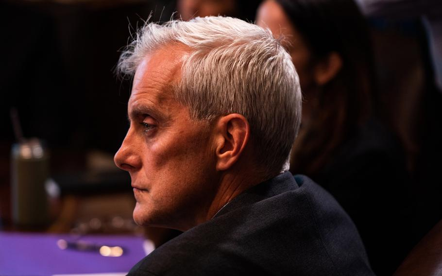 Secretary of Veterans Affairs Denis McDonough listens during President Biden's first full Cabinet meeting at the White House on July 20, 2021. MUST CREDIT: Washington Post photo by Demetrius Freeman.