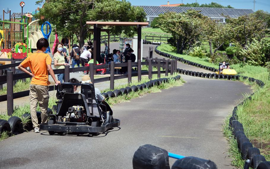 Soleil Hill Park's ticketed activities include go-karts, a mini-excavator, archery, pedal boats, grass sledding, merry-go-round and a petting zoo.