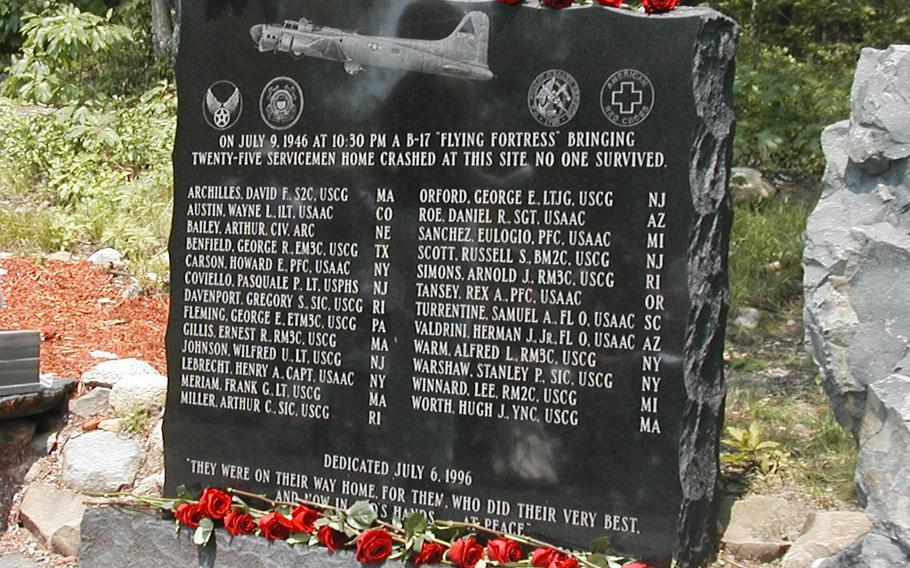 Mount Tom B-17 memorial.
