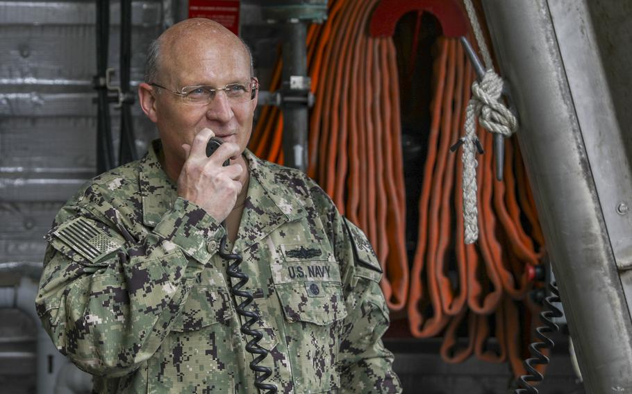 Adm. Mike Gilday, chief of naval operations, addresses the crew aboard the Freedom-class littoral combat ship USS Billings on March 3, 2021. Gilday visited Naval Station Mayport, Fla., to engage with sailors, speak to local Navy leadership and tour a number of commands in the area.
