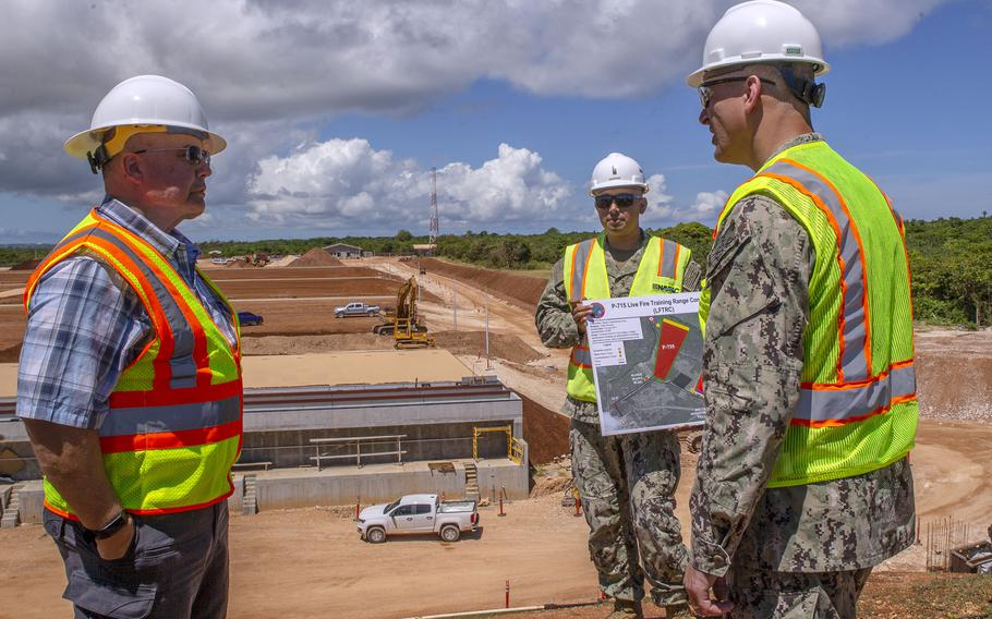 Rear Adm. John Adametz, who heads up Naval Facilities Engineering Systems Command Pacific, visits Marine Corps base Camp Blaz on Guam, June 9, 2021.