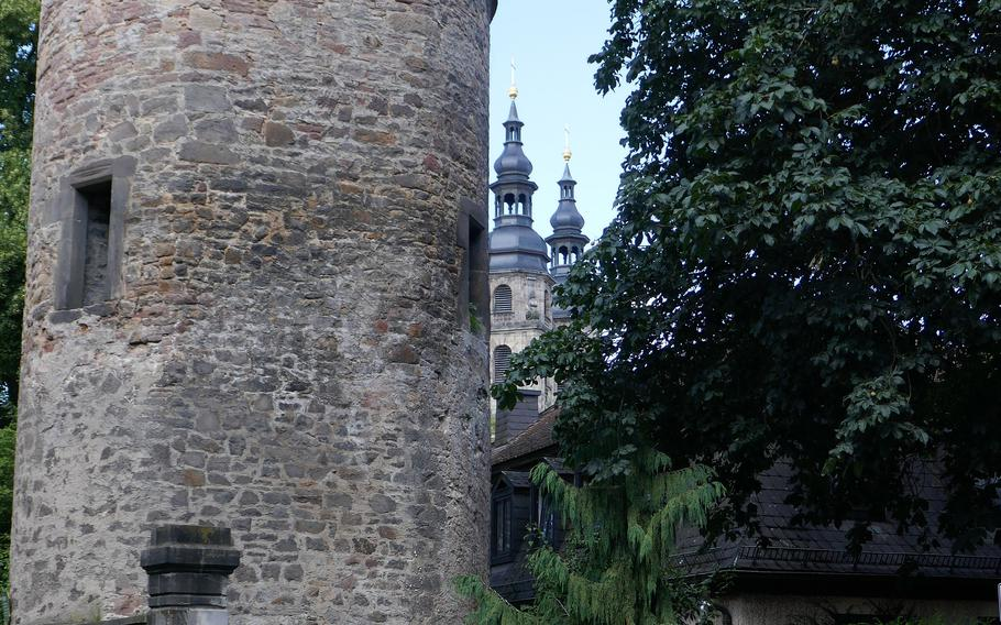 The Hexenturm, or Witches Tower, in Fulda, Germany. It dates to the 12th century and was part of the town's medieval fortifications. Despite its name, it was not used to imprison women charged with witchcraft but was once used as a women's prison.
