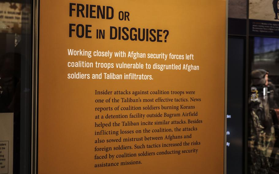 A display at the National Museum of the United States Army on its reopening day, June 14, 2021, tells the story of insider attacks in Afghanistan.