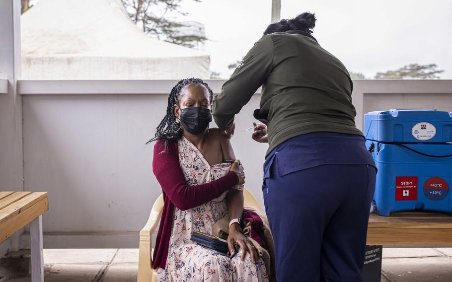 A resident receives a dose of the AstraZeneca Covid-19 vaccine at Mbagathi Hospital in Nairobi, Kenya, on July 6, 2021.