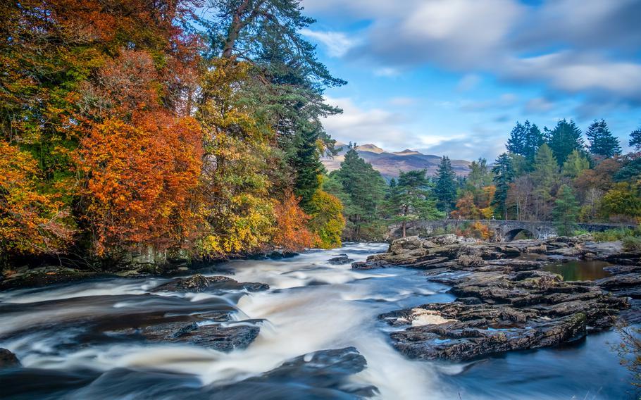 The Falls of Dochart, at Killin in Scotland, make for a dramatic autumn destination.