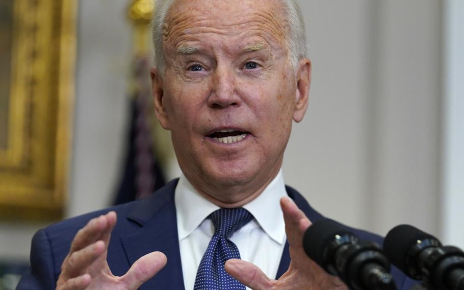 President Joe Biden speaks Sunday, Aug. 22, 2021, about the situation in Afghanistan in the Roosevelt Room of the White House in Washington.