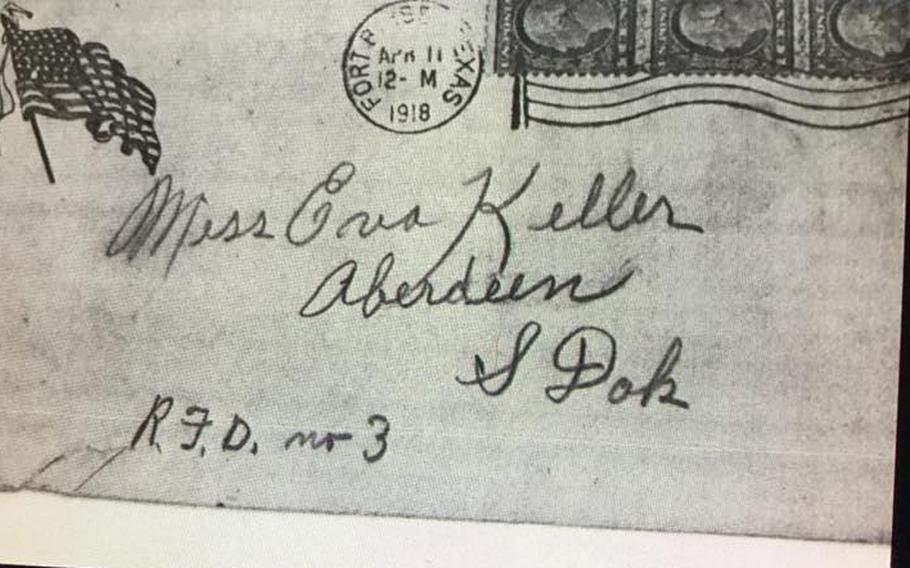 The letter, written by Bill Hutch, a soldier in the 82nd Field Artillery who was stationed at Fort Bliss, Texas, is addressed to a Miss Eva Keller in Aberdeen, South Dakota. It was found by Daniel Juracek while he was deployed to Iraq in 2004 as a civilian working for the U.S. Army Corps of Engineers.