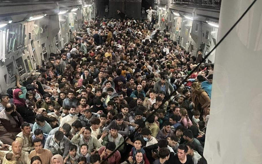 A U.S. Air Force C-17 Globemaster III transported approximately 640 Afghan citizens from Hamid Karzai International Airport Aug. 15, 2021.