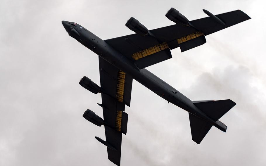 A B-52H bomber takes off from Morón Air Base, Spain, June 17, 2021.