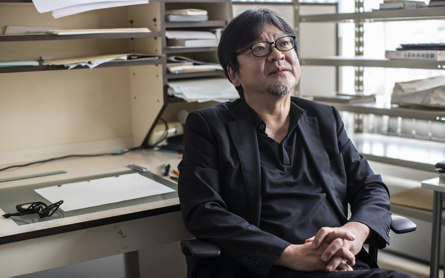 Director Mamoru Hosoda at his office in Tokyo on Sept. 9.