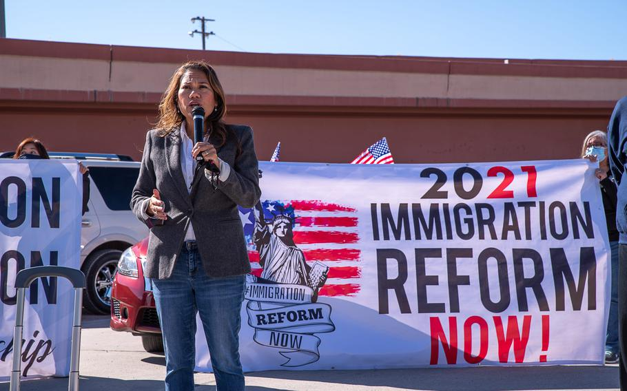 U.S. Rep. Veronica Escobar, D-Texas, speaks at an event on March 29, 2021.