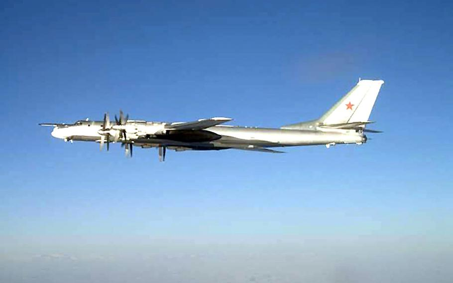 A Russian Tu-95 Bear long-range bomber in an undated photo. U.S. and NATO bases in Europe could be vulnerable to low-yield nuclear attack in the event of conflict with Russia, a new Rand Corp. report says.