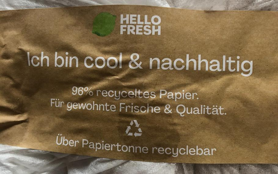 Hello Fresh keeps ingredients cool in a recyclable bag that includes two ice packs.