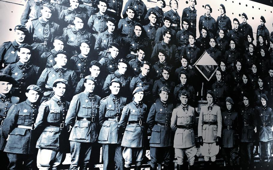 A photo on the wall of the Simserhof fortification in eastern France shows some members of the 153rd Fortress Infantry Regiment, who spent months inside the underground complex, one of the biggest forts in the Maginot Line.