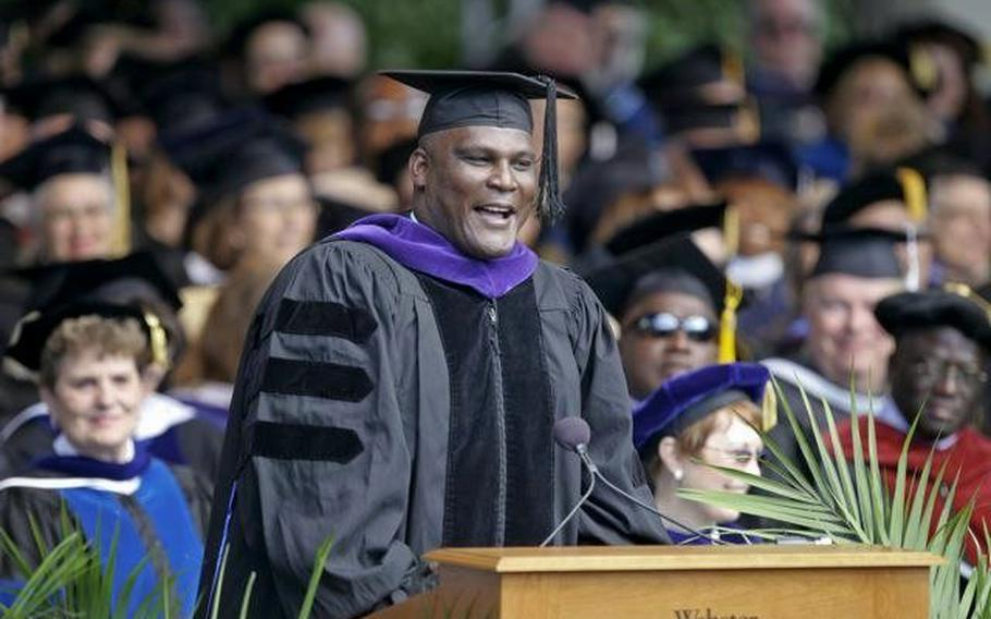 Lt. Col. Greg Gadson gives a commencement speech to graduates at Webster University at the MUNY Theatre in St. Louis, Mo., in May 2010.