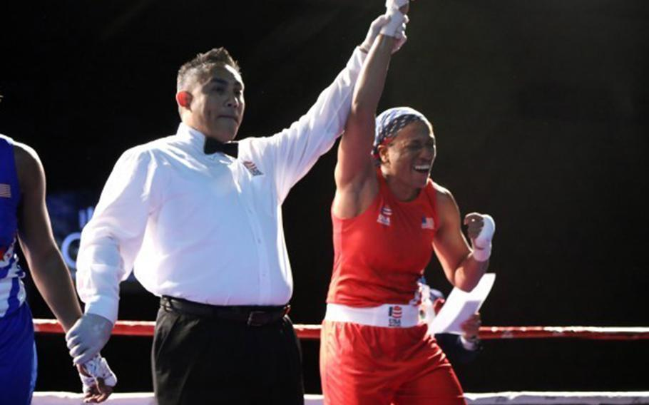 Staff Sgt. Naomi Graham is crowned champion of the women's 75 kg weight class at the U.S. Boxing Olympic trials in Lake Charles, La., Dec. 17, 2019.