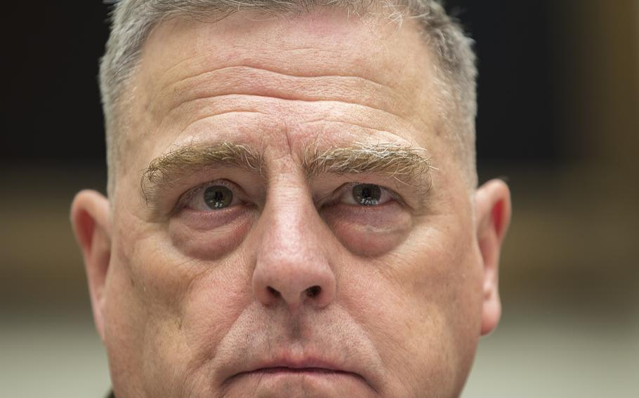 Chairman of the Joint Chiefs of Staff Army Gen. Mark Milley attends a House Armed Services Committee hearing on Capitol Hill in Washington on Feb. 26, 2020.