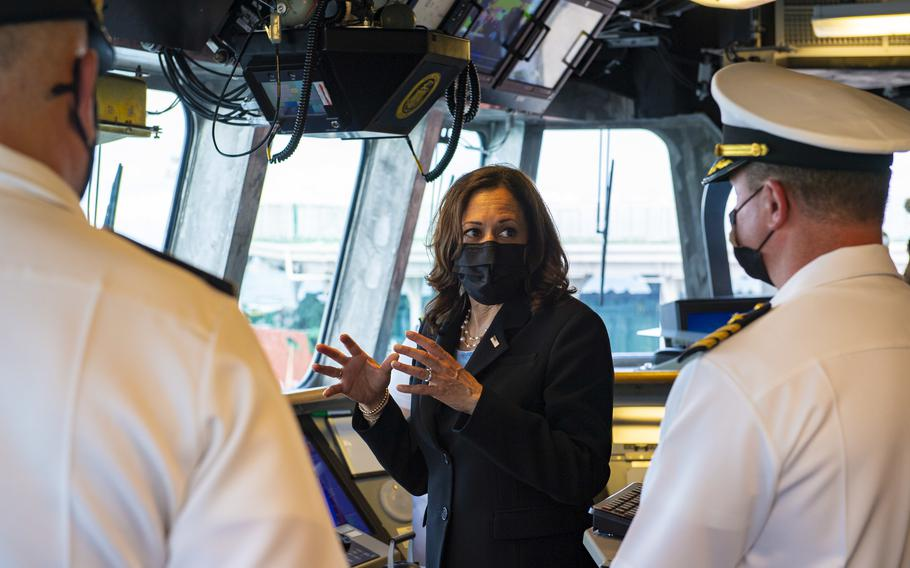 Vice President Kamala Harris visits the Independence-variant littoral combat ship USS Tulsa (LCS 16), Aug. 23, 2021. Tulsa, part of Destroyer Squadron Seven, is on a rotational deployment in the U.S. 7th Fleet area of operation to enhance interoperability with partners and serve as a ready-response force in support of a free and open Indo-Pacific region.
