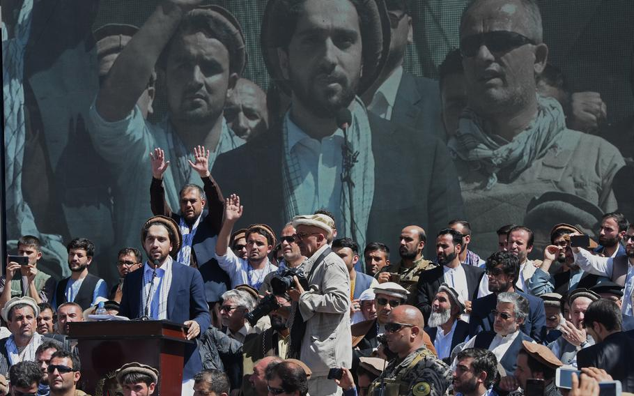 Ahmad Massoud, son of slain anti-Taliban commander Ahmad Shah Massoud, launches a political movement in Panjshir, Afghanistan, on Sept. 5, 2019. Massoud recently said the movement was preparing to fight the Taliban if the group abandons the country's peace process.