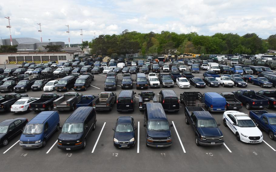 Hundreds of government vehicles are parked at Ramstein Air Base, Germany, May 20, 2021, with no return to service date, after the base lost funds for vehicle maintenance for the rest of the fiscal year.