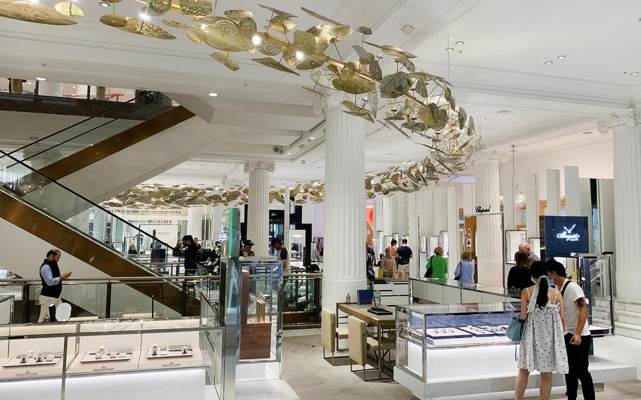 A view of the jewelry floor in the Selfridges store on Oxford Street in London.
