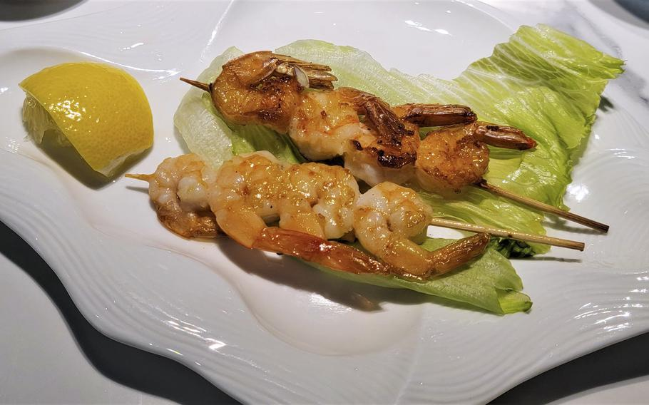 Grilled shrimp skewers from Kashima Sushi. The new Sacile location is about 7 miles from Aviano Air Base in Italy.