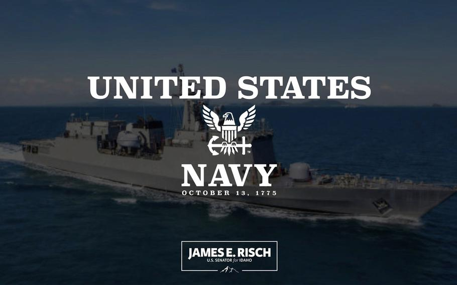 This screenshot of an Idaho U.S. senator's now-deleted Twitter birthday greeting to the U.S. Navy on Wednesday, Oct. 13, 2021, features a photo of a Chinese-made warship.