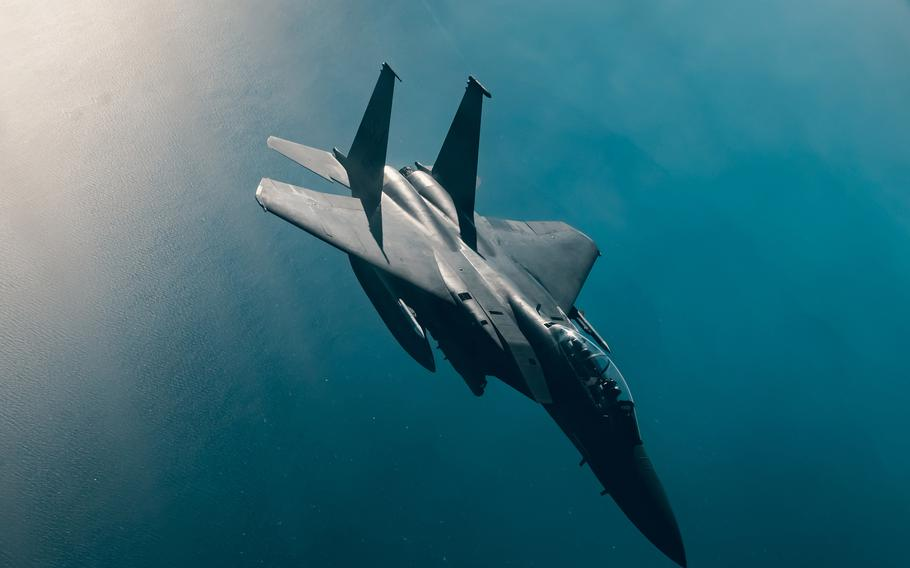 A U.S. Air Force F-15E Strike Eagle departs after receiving fuel from a U.S. Air Force KC-135 Stratotanker over an undisclosed location, Feb. 2, 2021. A Strike Eagle shot down a drone Aug. 21, 2021, in the air near a U.S. military outpost in eastern Syria's Deir al-Zour province, military officials said.