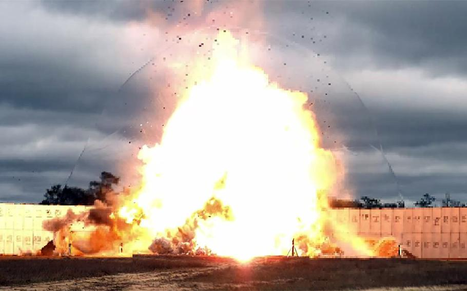 A GBU-72 Advanced 5K Penetrator bomb is dropped for the first time on the range at Eglin Air Force Base, Fla., Oct. 7, 2021.