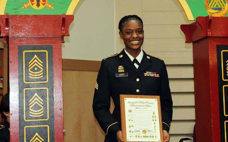 Sgt. Damionia Lott served as a supply sergeant with the 70th Brigade Support Battalion, 210th Field Artillery Brigade at Camp Casey, South Korea. She died at an off-base hospital on Sept. 18, 2021, according to the 2nd Infantry Division.